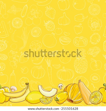 Bright template for design. Set of yellow fruits and vegetables on light yellow seamless vector pattern. Seamless background. eps 10 - stock vector