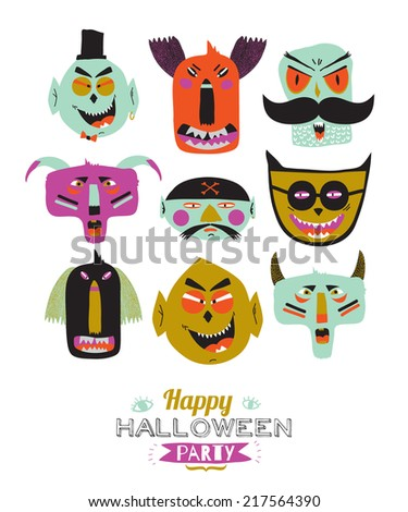 Bright trick or treat card in vector. Stylish halloween illustration with cute, funny, evil, fearsome monsters in cartoon style. Super monster. Happy Halloween party, kids. - stock vector