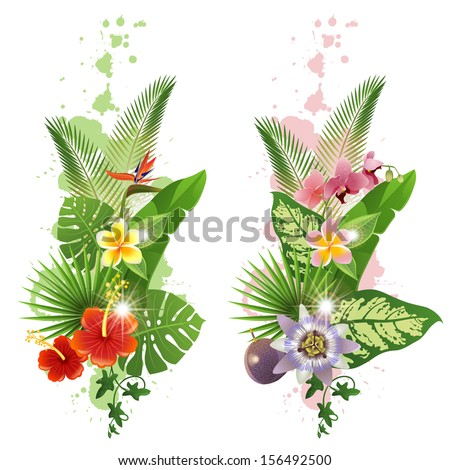 Bright tropical leafs and flowers  - stock vector