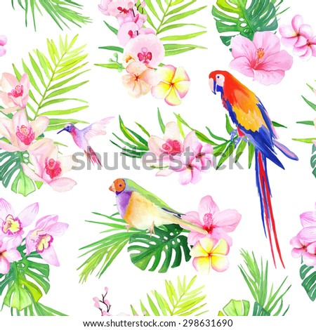 Bright tropical leaves with flowers and birds seamless vector print - stock vector