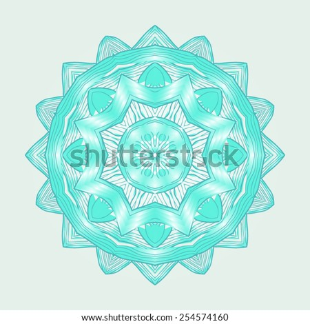 Bright, turquoise, reminiscent of sea water Indian mandala pattern on a light background. - stock vector
