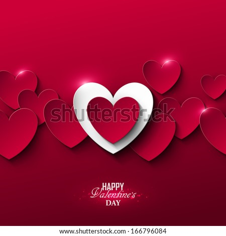 Bright Valentine`s day background  - stock vector