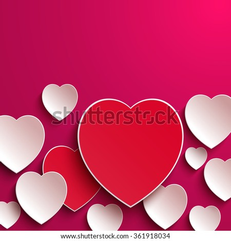 Bright Valentine`s day background. Valentines day. Abstract paper hearts. Happy Valentines Day card. Valentine's day background with cut paper heart. Red and white paper hearts Valentines day card - stock vector