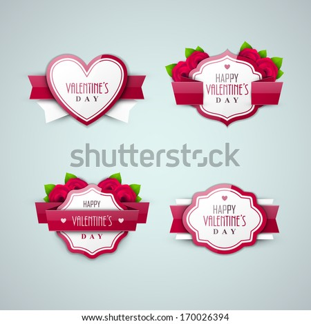 Bright Valentine`s day labels - stock vector