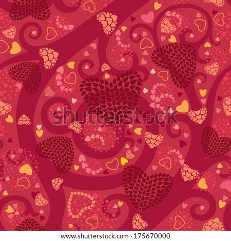 Bright Valentine Seamless Pattern - stock vector