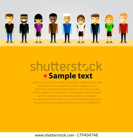 Bright vector background with happy cartoon people. - stock vector