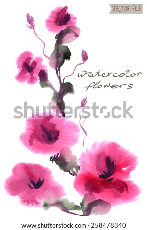 """Bright vector bouquet from water color flowers. An album """"vector bouquets by holidays from the picturesque drawn flowers."""" - stock vector"""