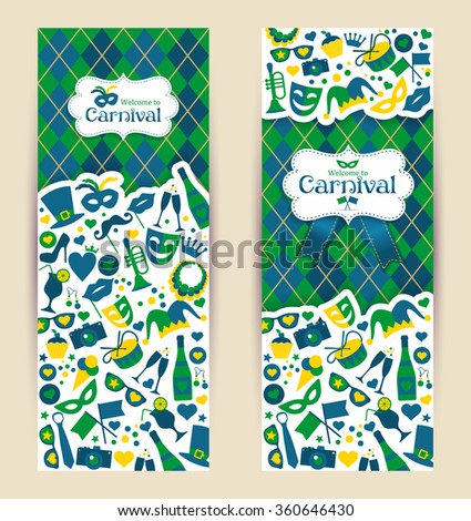 Bright vector carnival banners and sign Welcome to Carnival - stock vector