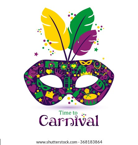 Bright vector carnival icons mask and sign Time to Carnival! - stock vector