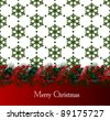 Bright vector Christmas background with snowflakes decorated by garland from fir-tree branches - stock vector