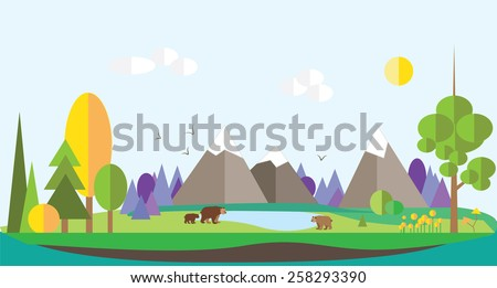 bright vector flat forest. mountain, bear , river. background - stock vector