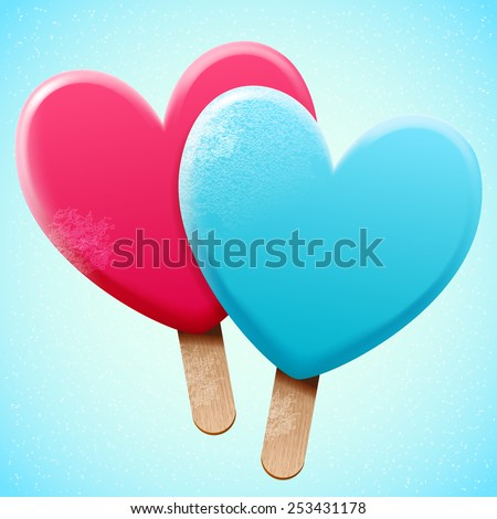 Bright vector heart shaped ice cream on a wooden stick, love sweet snack food; two object for frost poster design