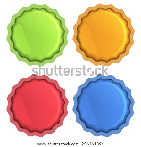 Bright vector icons of orange, blue, red and green with help of the glass coating - stock vector