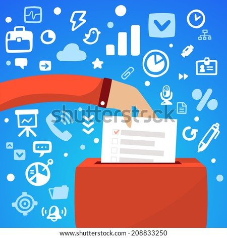 Bright vector illustration male hand down the ballot box voting on a blue background with different financial application icons - stock vector