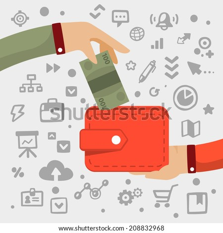 Bright vector illustration male  hand gives green banknote to red wallet on a light background with different financial application icons - stock vector