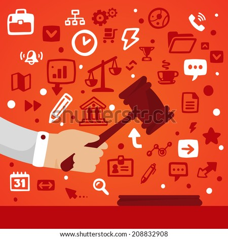 Bright vector illustration male hand holding a gavel  on a red background with different legal application icons - stock vector