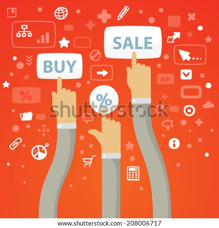 Bright vector illustration male hands curving stretch to the buttons to buy, sell and percent on a red background with different financial icons