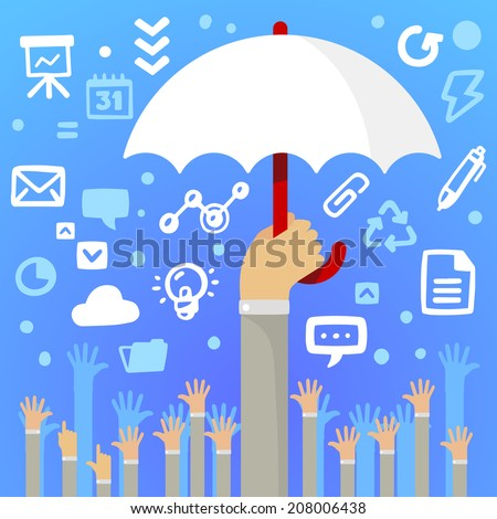Bright vector illustration man's hand holding a large white umbrella above a lot of people's hands on a blue background with different application icons - stock vector