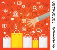 Bright vector illustration man's hand reaches for the paper shopping bags standing on a red background with different shopping icons - stock photo