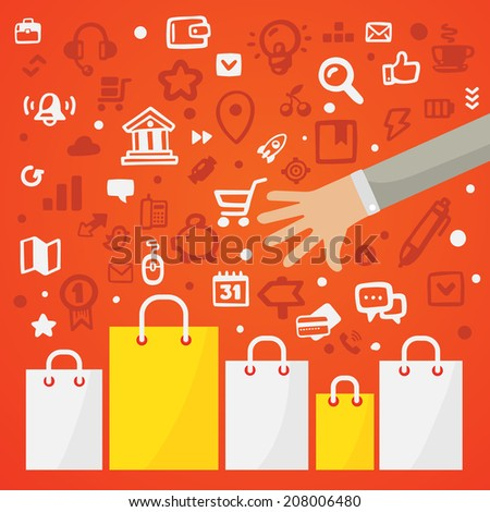 Bright vector illustration man's hand reaches for the paper shopping bags standing on a red background with different shopping icons - stock vector