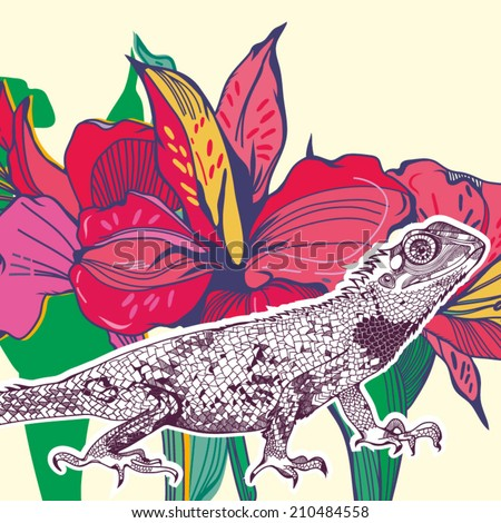 Bright vector illustration of reptile and flower in graphic style. - stock vector