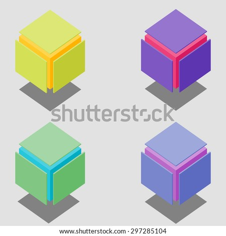 Bright vector isometric cubes - stock vector