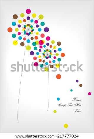 bright vector polka dots flowers - stock vector