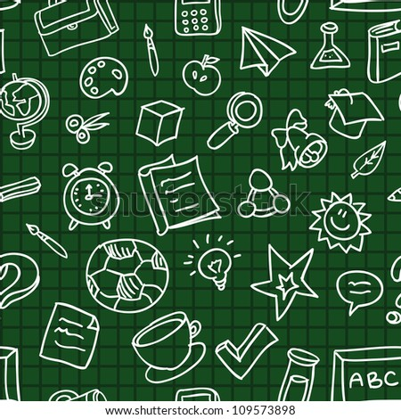 Bright vector seamless pattern with education and school icons