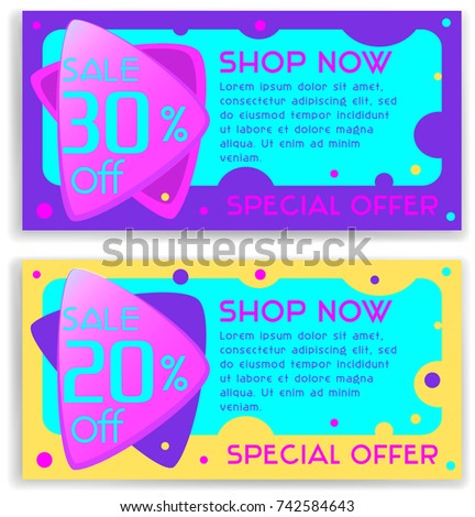 Bright Vector Set Discount Special Offer Stock Vector 2018