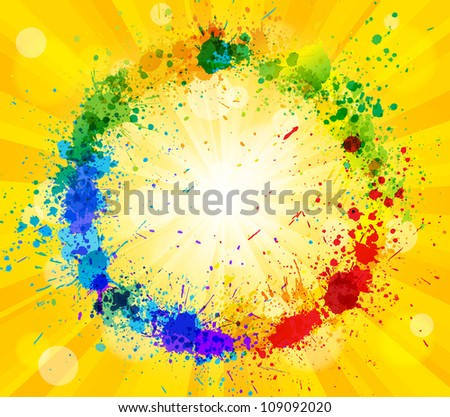 Bright vector sun and paint splashes effect background. - stock vector