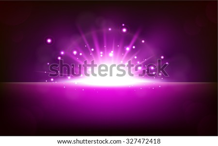 Bright violet light rising from the black horizon - stock vector