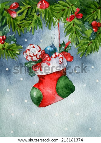 Bright watercolor Christmas card. Sock with gifts - stock vector