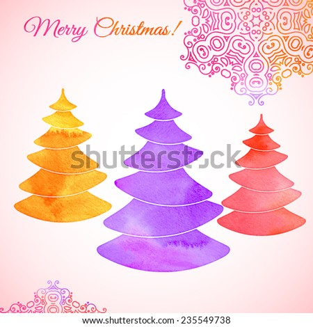Bright watercolor composition of stylized Christmas trees and fantastic snow flakes. Decorative purple, orange and pink colors. Vector design.  - stock vector