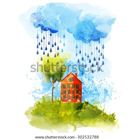 bright watercolor house on the hill under a cloud - stock vector