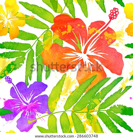 Bright watercolor painted colorful frangipani flowers vector seamless pattern - stock vector