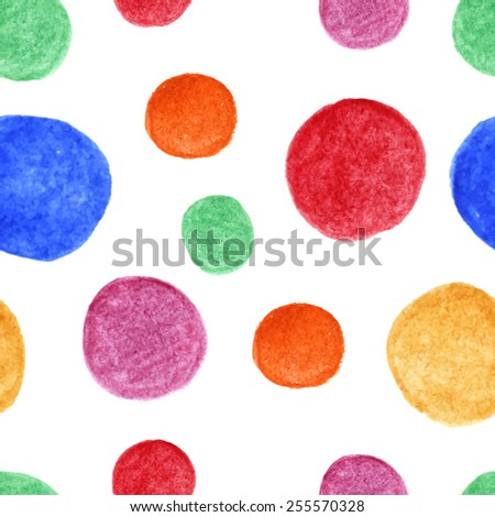 Bright watercolor spots seamless pattern. Vector background. Watercolor blots are mixed between ourselves. Hand drawing. Vector illustration. - stock vector