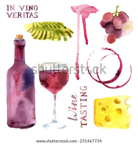 Bright watercolor wine design elements (in vino veritas - verity in wine) - stock vector