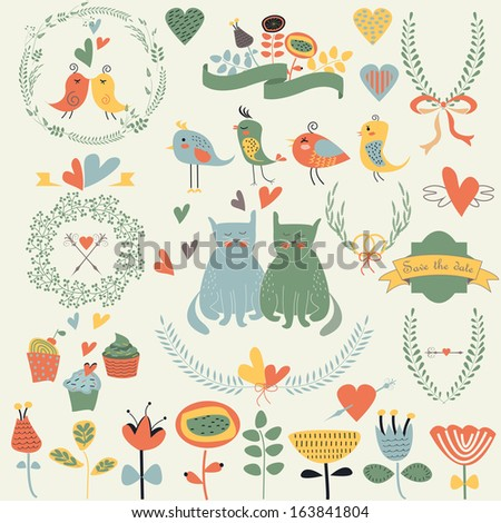 Bright wedding set with cute loving birds, cats, ribbons, hearts, laurels, flowers, frames, bows, cupcakes and calligraphic elements in cartoon style