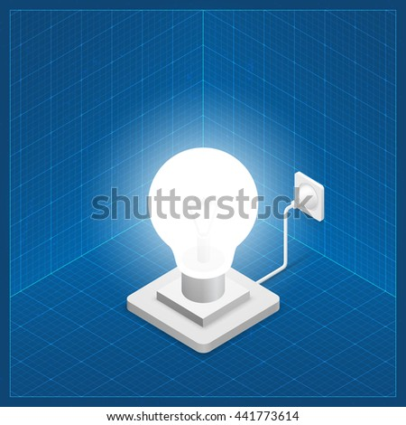 Bright White Lamp Plugged In. Isometric Idea Lamp on Blueprint Background. Creative Idea Concept. Vector Illustration. - stock vector