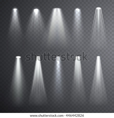 Bright White Light Beam Glowing Effects Isolated On Checkered Transparent Background Set Of