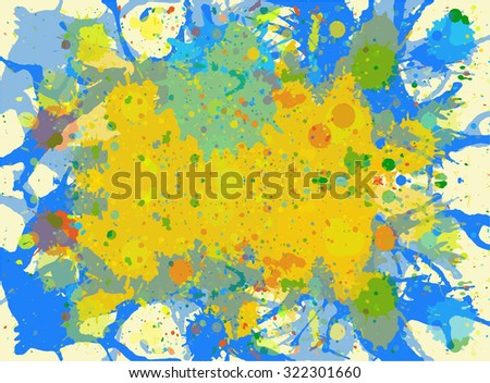 Bright yellow and blue watercolor paint artistic splashes background, horizontal format.