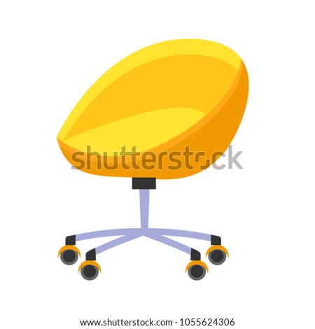 bright yellow orange office chair isolated stock vector 1055624306