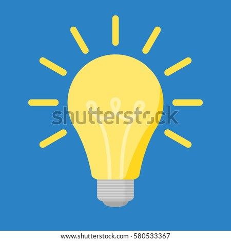 Bright yellow flat bulb with light isolated on blue background