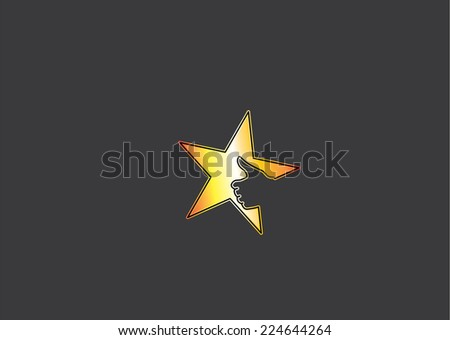 bright yellow golden colorful star icon with thumb up social media human hand in dark black background - great or cool prize achievement success award badge or leader leadership concept symbol art - stock vector
