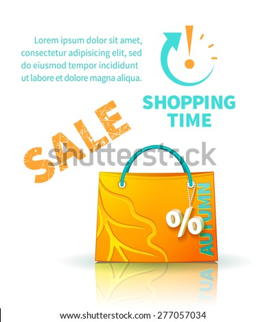 Bright yellow shopping bag with advertising seasonal autumn sale and trinket in form of percent  and icon shopping time - stock vector