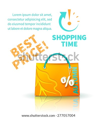 Bright yellow shopping bag with advertising seasonal autumn sale and trinket in form of percent and lettering of best price and icon shopping time - stock vector
