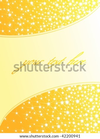 Bright yellow sparkly background, vertical (vector); JPG version also available - stock vector