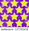Bright yellow stars on grunge purple background, seamless pattern - stock photo
