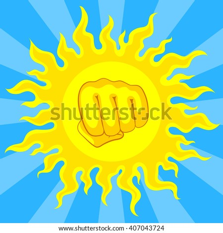 Bright yellow sun and fist in the middle, with sunrays on blue sky. Risk of sunstroke and heatstroke at hot season - stock vector