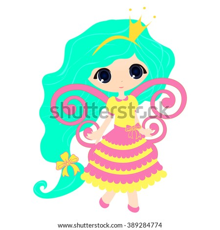 Brightly Beautiful fairytale Cartoon Illustration Princess for Children Education.  vector  game for children, a cute fairy on a white background - stock vector